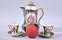 Royal Vienna Beehive Mark Chocolate Pot and (2) Cups and Saucers