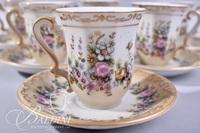 Hand Painted Chocolate Pot with (6) Cups/Saucers with Dolphin Spout and Female Figure