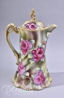 Hand Painted Nippon Chocolate Pot with (2) Cups and Saucers