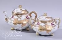 Hand Painted Nippon Tea Pot with Sugar Bowl and (2) Cups and Saucers