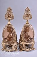 Pair Amber and Brass Perfume Bottles with One Stem Intact