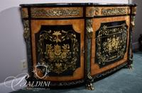 Marbletop Hand Painted Sideboard with Dore Bronze Mounts and Marble Accents on Paw Feet