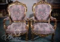 Pair Early Carved Armed Parlor Chairs - Reupholstered