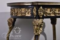 Inlaid French Stand with Single Drawer on Bronze Ram's Head Spayed Legs