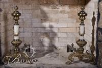 Pair Onyx and Brass Andirons