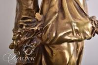 Gold Bronze Statue of Barefoot Female Carrying Foliage Stamped A.Gaudez