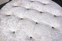 White Tufted Ottoman on Rollers