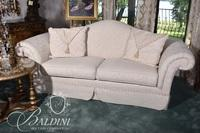 White Sofa with Rolled Arms, Skirt and (2) Accent Pillows