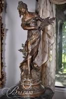 """After Auguste Moreau Lady with Wheat Bronze Statue """"Rein Des Pres"""" with Foundry Stamp"""