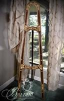 Early Painted Wood Easel with Rose Carved Supports