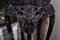 Asian Teak Stand with Heavily Hand Carved Foliate and Figures on Serpent Feet
