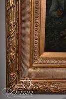 Original Renaissance Oil on Canvas of Lady in Swing Kicking Off Her Shoe while Putti Babies Look on, Signed L. Dona