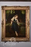 Early Oil on Canvas of Girl Tipping Her Toe in the Water