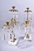Pair of Brass and Crystal Girandoles - Some Chips