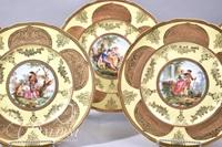 (10) Limoges Hand Painted Roman Gold Plates with Various Portrait Scenes