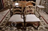 Wood Planked Dining Table with (6) Chairs and Painted Accents