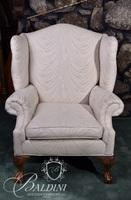 White Upholstered Wing Back Chair on Ball and Claw Foot