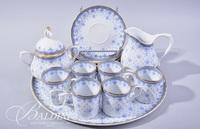 Porcelain Tea Set with Tray, Sugar and Creamer and (6) Cups and Saucers Marked QN Portugal