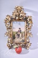 Early 1800's Delicately Carved Acanthus Leaves Wood Framed Oil on Canvas