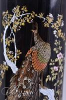 Tabletop Lacquered Asian Screen with Figural Inlay and Tall Vase