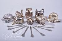 Assorted Silver Plate Animal Shape Salt Cellars with Spoons