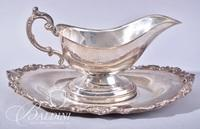 Assorted Silverplate - Covered Butter, Gravy Boat on Tray, Etched Creamer and Sugar