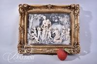 Renaissance Style Relief Framed Art with Scene of Cherubs Playing