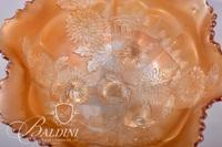 Early 3-Footed Marigold Carnival Glass Bowl with Fluted Edge