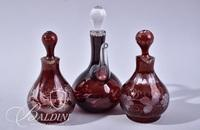 (3) Etched Flash Ruby Cruets with Stoppers