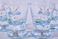 """(4) Art Glass Paperweights and (4) Hand Painted """"SEA"""" Cordial Glasses from Sweden Artist Signed """"Rsyf"""""""