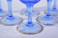 Vintage Bohemian Blue and Gold Striped Decanter Set with (6) Stemware Glasses