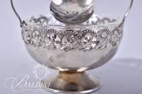 (2) Silverplate Condiment Sets with Fire King Insets and Silver Plate Spoons