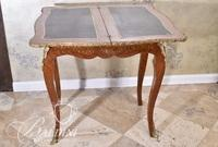 French Tooled Leather Swivel Top Game Table with Dore Bronze Mounts and Single Drawer