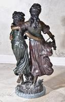"""After Auguste Moreau Bronze Statue """"Amatie"""" on Marble Base"""
