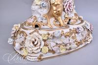 """Large Capodimonte Harp and Cherub Lamp with Paper Label """"Italy"""" and Shade"""