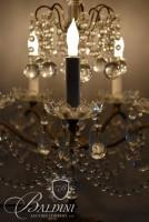 Pair of Ornate Crystal and Brass Candelabras