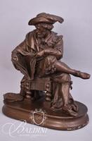 Hollow Bronze Scholar Statue Sitting on Fringed Stool