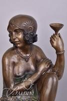 Bronze Art Deco Nouveau Statue Sitting on Stool Holding a Martini