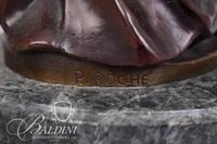 """After Pierre Roche """"Diana"""" Bronze Sculpture on Circular Marble Base"""