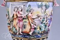 Capodimonte Urn Lamp with Cherub Handles