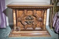 2-Drawer Night Stand with Faux Marble Columns