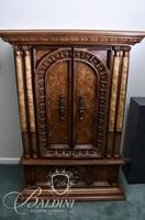 2-Door Armoire with Faux Marble Columns and Single Drawer