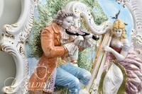 Meissan Wall Hanging of Maiden Playing a Harp and a Gentleman Playing a Violin