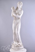 Ceramic Female Sculpture Holding Grapes on a Base