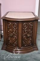 Pair Bedside Tables with Marbletop and Single Door