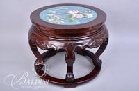 Teak Plant Stand with Asian Theme Cloisonne Inlaid Top