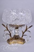 Crystal Center Bowl with Prisms and Brass Accents
