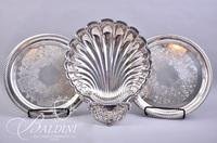 (2) Silverplate Trays, (1) Shell Shaped Platter, Cranberry Tray and Small Dish