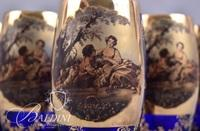 Blue Bohemia Portrait Pitcher Set with Gold Gilt and (6) Glasses