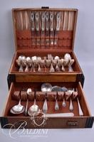 """1847 Rogers Bros. """"Old Colony"""" Silver Plate Flatware Set in Box"""